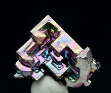 Iridescent Bismuth Rainbow Hopper Crystal Cluster Mineral Specimen w/ ID card