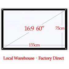 60'' Inch 16:9 Projector Screen Portable Foldable Home Outdoor Backyard Cinema