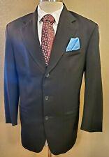 R RASPINNI UOMO Men's 42R Black 3 -Button 100% Virgin Wool Sport Coat Jacket