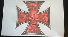 IRON CROSS WITH SKULLS   A5  IRON ON T SHIRT TRANSFER