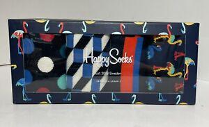 NEW Happy Socks Flamingo Polka Dot Stripe Geometric Black 4 Pairs Men's Gift Box