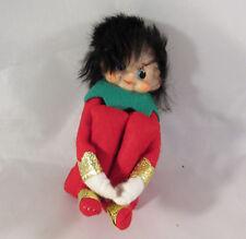 Vintage Christmas Knee Hugger Elf Pixie Gold Trim Hair OOAK