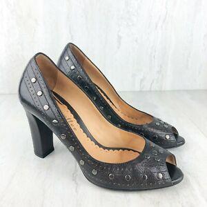 Bettye Muller Women Leather Black Studded Pumps Heels Shoe Size 38 Peep Toe