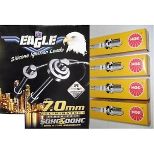 Black Eagle 7mm Ignition Leads & 4 NGK Standard Spark Plugs E74504 ZFR5F-11