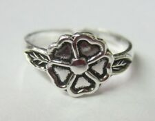 Ring Flower Leaves Oxidized Jewelry Solid 925 Sterling Silver Adjustable Toe