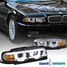 1995-2001 BMW E38 7-Series Euro Chrome Projector Headlights DRL Dual Halo LED