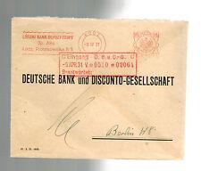 1931 Lodz Poland Bank Meter Cover to Deutsche Bank Berlin Germany