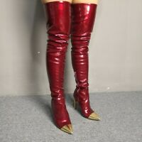 Fashion Women Thigh High Boots Pointy Toe Stiletto Heel Patent Leather Big Shoes
