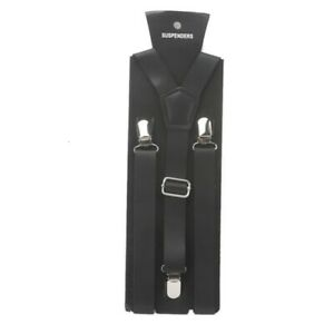 118*2.2cm Mens Womens LEATHER Suspenders Y-Back Retro Braces Clip-On TRENDY NEW