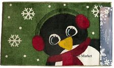 Nourison Holiday Penguin Christmas Accent Rug 18x30 Bath Floor Mat Green