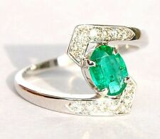 GORGEOUS 18KT WHITE GOLD AAA EMERALD DIAMOND RING