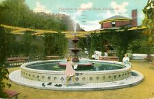 Peoria,IL. Children around the Fountain in Bradley Park 1911