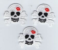 LOT 3 ECUSSON PATCHE THERMOCOLLANT GIRL SKULL BLANC
