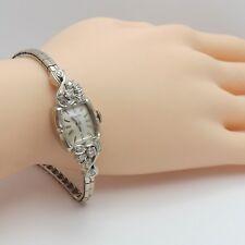 Retro Deco Bulova 14k White Gold 21 Jewels Diamond Ladies Wind Up Working Watch