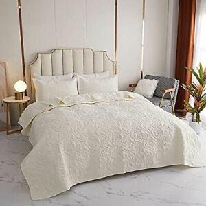 Kindred Home 3 Piece Quilt Set Floral Pattern Bedspread - Soft Microfiber Lightw