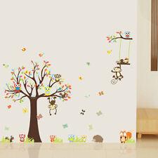 Animal Wall Stickers Owl Monkey Jungle Zoo Tree Nursery Children Bedroom Decal J