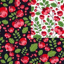 Cotton Poplin Fabric - Material Floral Poppy - 482