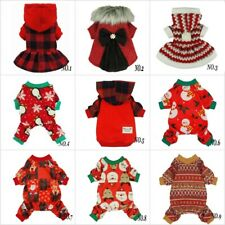 Fitwarm Christmas Dog Clothes Xmas Pajamas for Pet Winter Dress Red Coat Hoodies