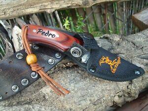 Personalized Knife,  FIXED BLADE KNIFE - Custom Knife,  Cord fine Leather 200