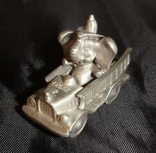 SPOONIQUES ~ ELEPHANT FIREFIGHTER DRIVING a FIRE TRUCK ~ MINI PEWTER FIGURE *EUC