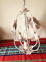 Vintage Tole Floral 3-Light White Chandelier w Pink Roses Tested Works