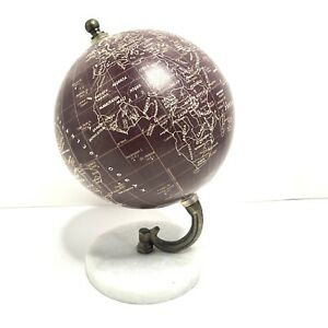 """Vintage Desk World Globe 8"""" tall With Marble Base Earth"""