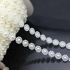 5yards/lot 10mm White Flower Flat Back Pearl Beads Chain for Jewelry DIY Making