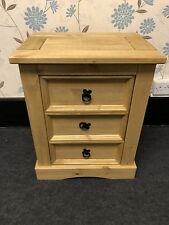 Mexican Pine Wood Corona 3 Drawer Bedside Fully Assembled