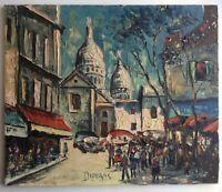 Marcel DURANS Ecole Française XXe Attroupement à Montmartre Huile sur toile 1960