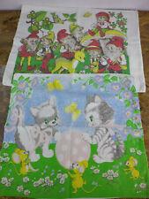 Kissenbezüge für Kinder mit Zwergen und Katzen 2 Stück als Set W1126