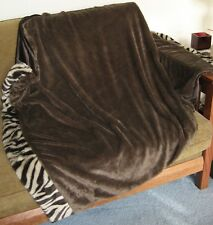 "Soft 60"" x 45"" Brown Faux Fur Throw Blanket L5"