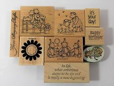 Stampin' Up 2000 Beary Best & Greetings 9 Wood Pieces 1 Tiger Foam Stamp