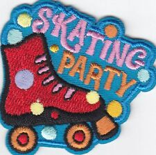 """SKATING PARTY"" w/ROLLER SKATE- Iron On Embroidered Patch-Skates, Sports, Words"