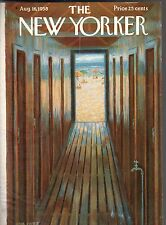1958 New Yorker Cover August 16 - Jones Beach Changing rooms - Edna Eicke