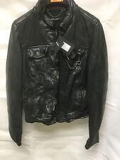 Muubaa Women's Scuff Effect Black Leather Biker Jacket. RRP £339. UK 8. M0008.