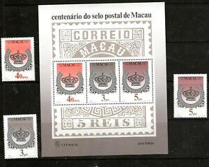 "PORTUGESE MACAU 1984:""CENT. OF MACAU STAMPS"" + MIN. SHEET(light hinged)CV $160++"