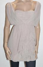 Ally Designer Mocha Frill Ruched Chiffon Dress Size 8 BNWT #sx120