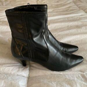 Bandolino Women's Ankle Boots Size 6.5 M Black Zip Heel