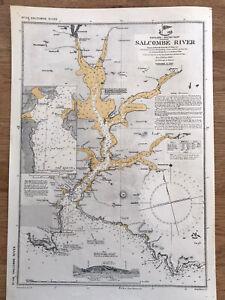 No.116 Vintage Chart Salcombe River 1936