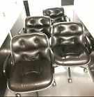 Original+Charles+Pollock+Black+Leather+Office+Chair+for+Knoll-+set+of+4