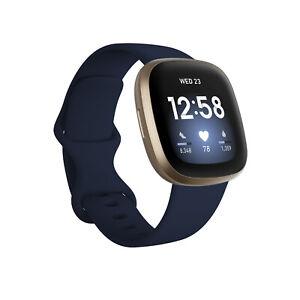 New Fitbit Versa 3 Health & Fitness Smartwatch GPS Soft Gold Case Midnight Band