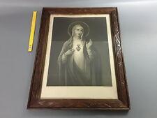 Antico cornice in legno lavorato vintage smaltato con disegno religiosa old foto