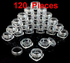 120 Pieces 5 grams/ml High Quality Square Sample Cosmetic Clear Jars Containers