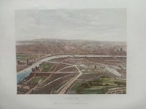 1878  Panoramic Birds-eye View of London Original Antique by William Collins
