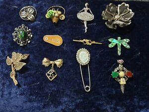 Vintage 12 Mixed styles/ Eras Costume Brooch Joblot Bundle ,resell,keep,craft