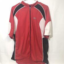 Men's Louis Garneau Red Black Cycling Bike Jersey With Back Pockets - XXL