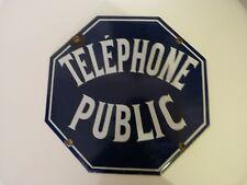 ancienne plaque émaillée  hexagonale cabine téléphonique tbe