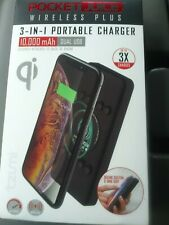 Tzumi Pocket Juice Wireless Plus 3-IN-1 Portable Charger 10,000 mAh Dual USB
