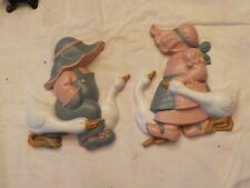 Homco-Burwood- Boy-Girl-Geese-Wall Hanging Decor- 1988- #2865-1A,2A, Made in Usa