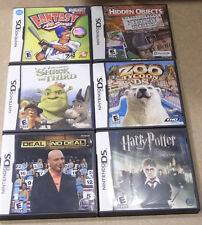 6 Nintendo DS Games w/Box Harry Potter Shrek Zoo Tycoon Deal or No Deal Baseball